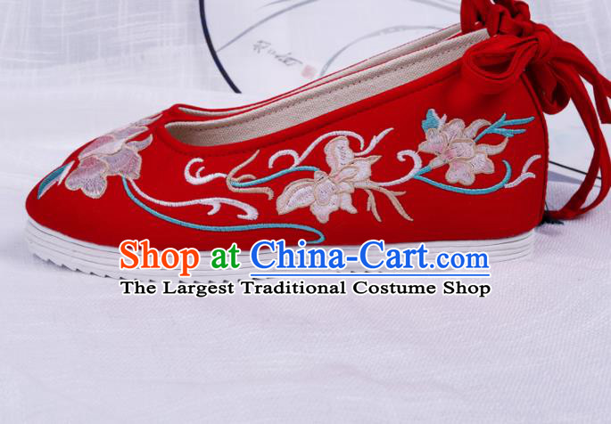 Chinese Traditional Embroidered Flowers Red Shoes Hanfu Cloth Shoes Handmade Ancient Princess Shoes for Women