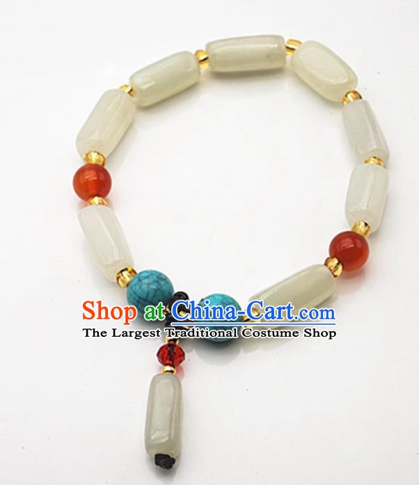 Chinese China Green Hetian Jade Carving Bamboo Beads Men/'s Hand Chain Bracelet