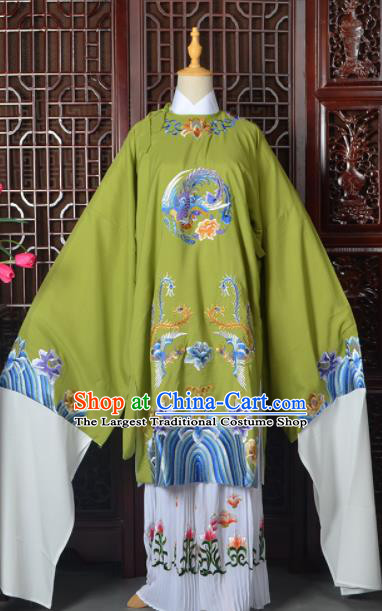 Handmade Chinese Beijing Opera Old Women Costume Peking Opera Actress Green Embroidered Dress for Women
