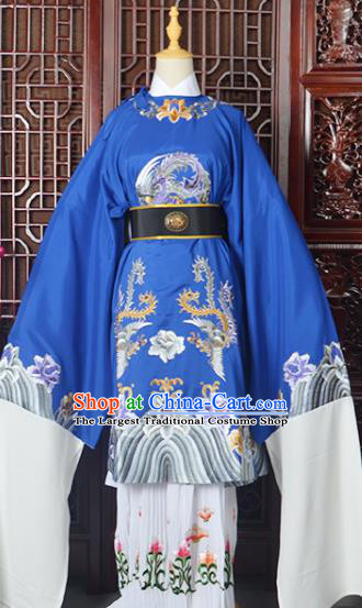 Handmade Chinese Beijing Opera Old Women Costume Peking Opera Actress Royalblue Embroidered Dress for Women