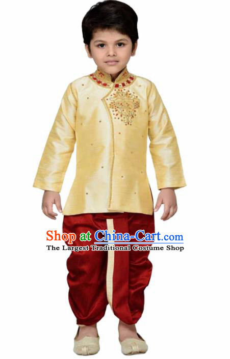 Asian India Traditional Costumes South Asia Indian National Golden Shirt and Red Pants for Kids