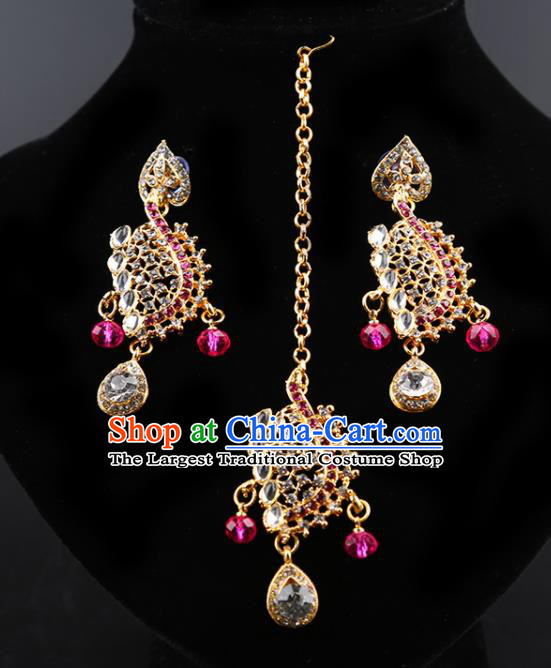 Indian Bollywood Wedding Rosy Crystal Earrings And Eyebrows