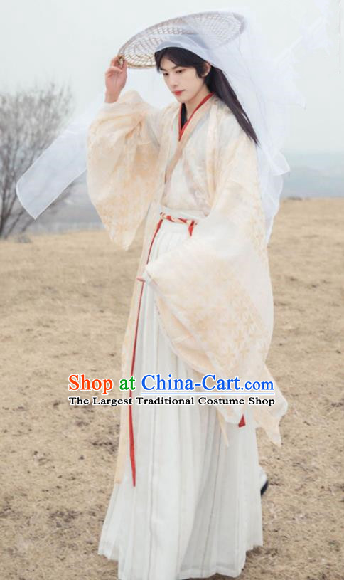 Asian Chinese Jin Dynasty Prince Historical Costume Ancient Nobility Childe Traditional Hanfu Clothing for Men