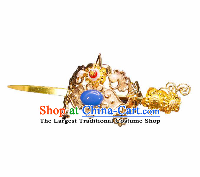 China Ancient Swordsman Blue Stone Hairdo Crown Hairpins Chinese Traditional Hanfu Hair Accessories for Men