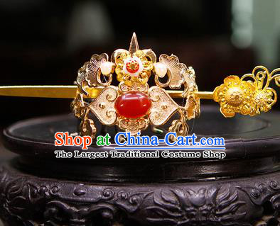 China Ancient Swordsman Red Stone Hairdo Crown Hairpins Chinese Traditional Hanfu Hair Accessories for Men
