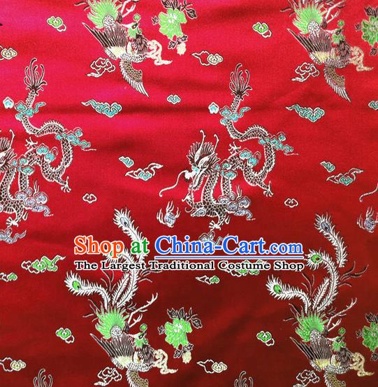 Chinese Brocade Silk Fabric Dragon Phoenix Design Asian