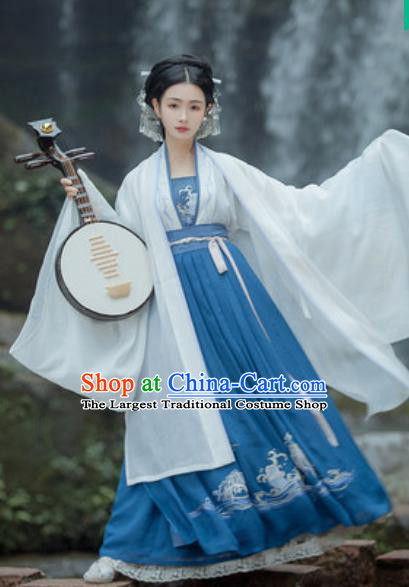 Traditional Chinese Tang Dynasty Imperial Consort Embroidered Hanfu Dress Ancient Drama Courtesan Historical Costume for Women
