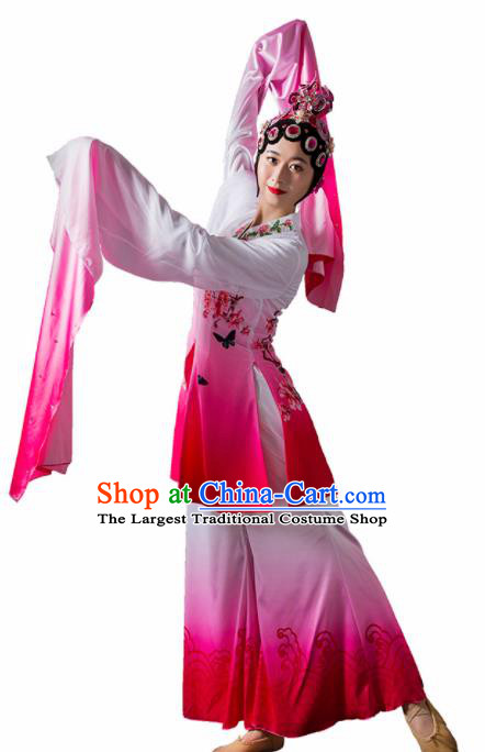 Chinese Traditional Dance Rosy Dress Classical Dance Water Sleeve Beijing Opera Costume for Women