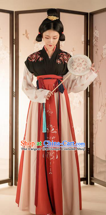 Asian Chinese Ancient Court Lady Embroidered Hanfu Dress Traditional Tang Dynasty Palace Historical Costume for Women