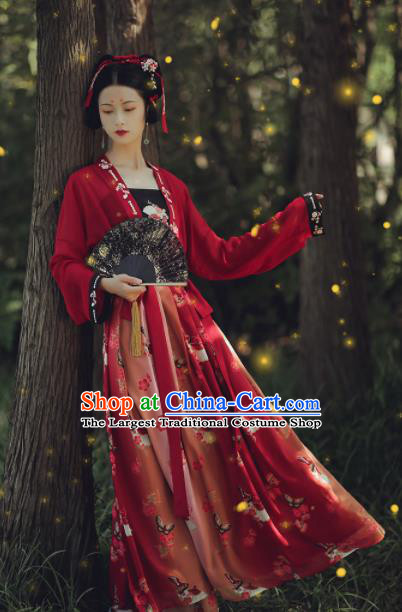 Asian Chinese Ancient Wedding Red Hanfu Dress Traditional Tang Dynasty Court Princess Historical Costume for Women