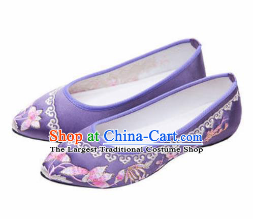 Chinese Traditional Shoes Opera Wedding Shoes Hanfu Princess Shoes Embroidered Purple Shoes for Women
