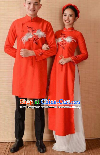 Asian Vietnam Traditional Wedding Costumes Vietnamese National Bride and Bridegroom Ao Dai Cheongsam Complete Set
