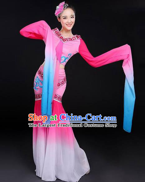 Traditional Chinese Classical Dance Cai Wei Costume Group Dance Water Sleeve Dance Pink Dress for Women