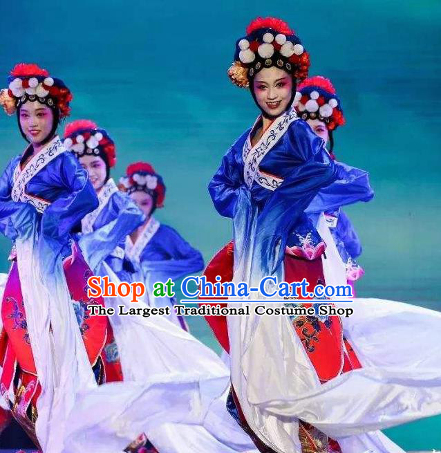 Traditional Chinese Classical Dance Cai Wei Costume Group Dance Water Sleeve Blue Dress for Women
