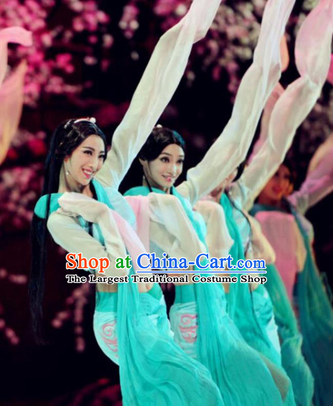 Traditional Chinese Classical Dance Cai Wei Costume Group Dance Water Sleeve Green Dress for Women