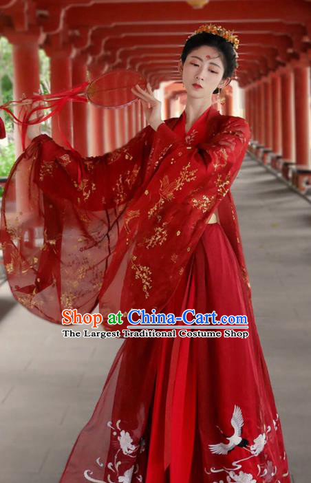 Traditional Chinese Jin Dynasty Wedding Historical Costume Ancient Court Bride Red Hanfu Dress for Women