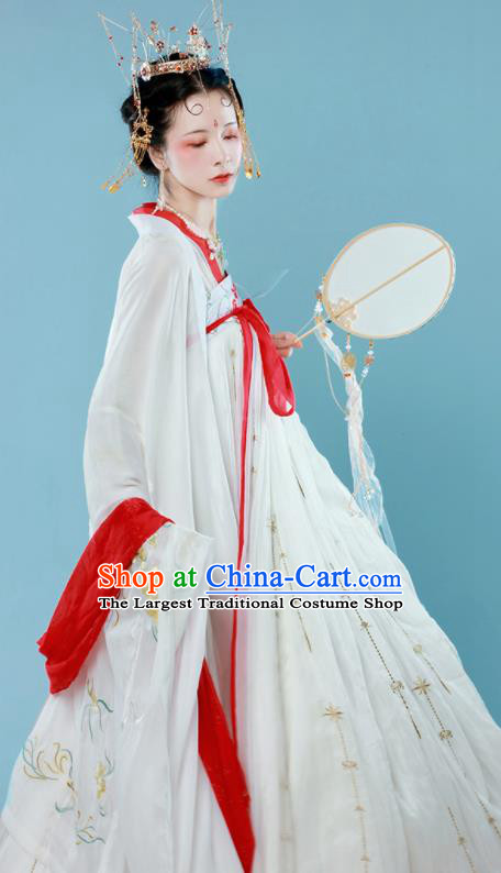 Traditional Chinese Tang Dynasty Princess Historical Costume Ancient Drama Goddess White Hanfu Dress for Women