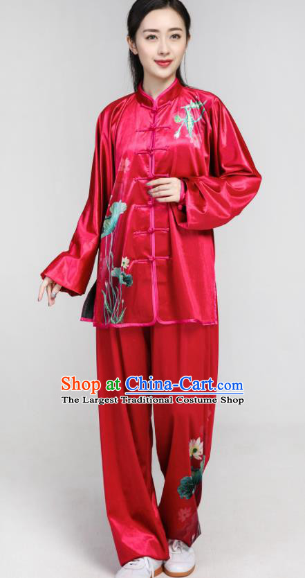 Chinese Traditional Tang Suit Rosy Velvet Clothing Martial Arts Tai Chi Competition Costume for Women