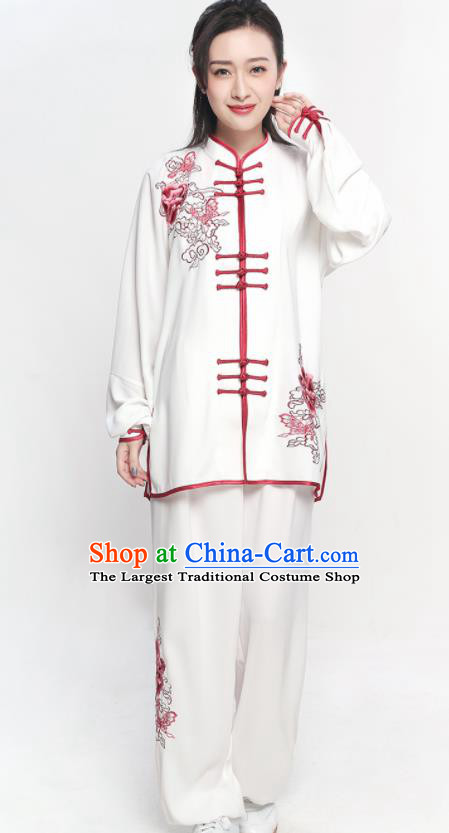 Chinese Traditional Tang Suit Red Embroidered Clothing Martial Arts Tai Chi Competition Costume for Women