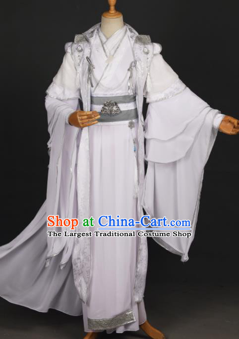 Chinese Ancient Drama Cosplay Prince Young Knight White Clothing Traditional Hanfu Swordsman Costume for Men
