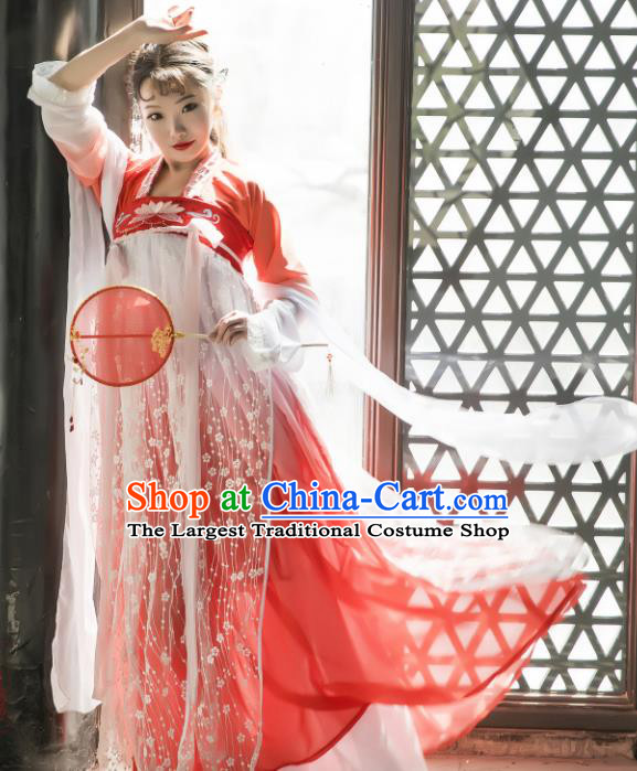 Chinese Traditional Tang Dynasty Palace Princess Replica Costumes Ancient Goddess Hanfu Dress for Women