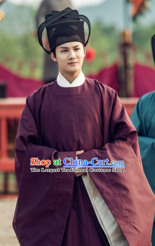 Chinese Ancient Song Dynasty Count of Jiayi Drama Royal Nirvana Gu Feng En Replica Costumes and Hat Complete Set