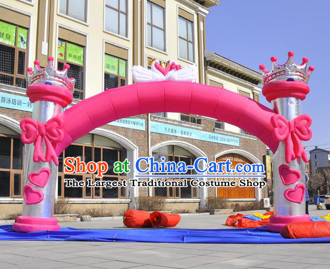 Large Christmas Day New Year Inflatable Pink Bowknot Models Inflatable Arches Archway