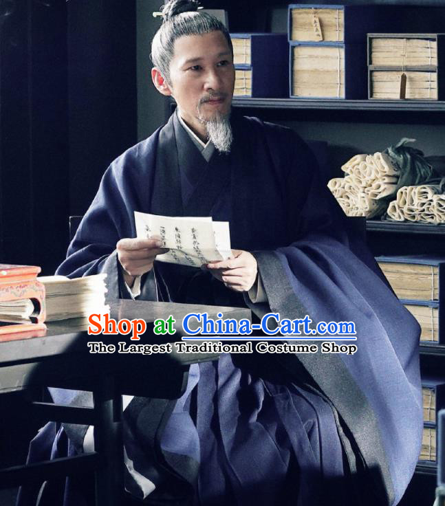 Chinese Ancient Song Dynasty Drama Royal Nirvana Grand Preceptor Lu Shiyu Replica Costumes and Headpiece Complete Set