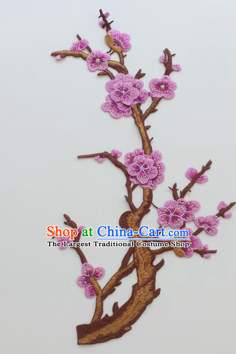 Chinese Traditional Embroidery Lilac Plum Branch Applique Embroidered Patches Embroidering Cloth Accessories