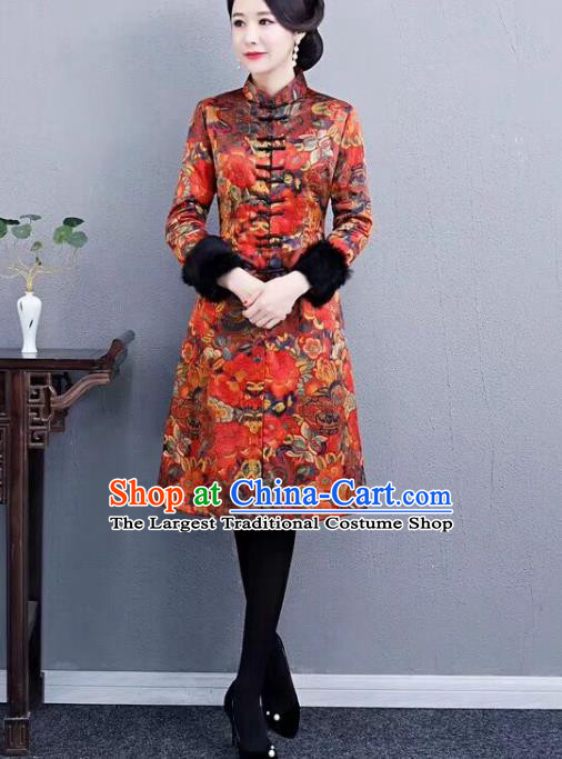 Chinese Traditional Mother Red Coat National Costume Tang Suit Cotton Wadded Jacket for Women