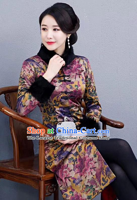 Chinese Traditional Mother Purple Coat National Costume Tang Suit Cotton Wadded Jacket for Women