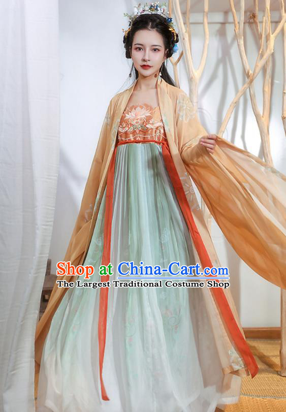 Chinese Tang Dynasty Princess Historical Costumes Traditional Ancient Hanfu Apparels Embroidered Cape and Dress Full Set