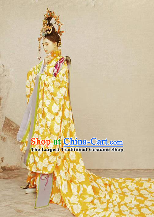 Chinese Ancient Empress Costumes Drama Traditional Tang Dynasty Queen Hanfu Dress Apparels and Headdress Full Set
