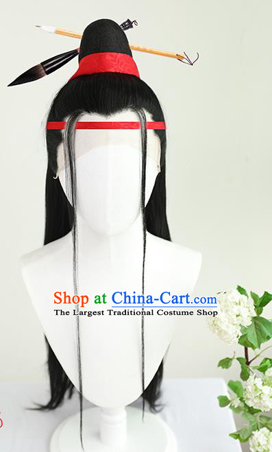 Best Chinese Cosplay Scholar Wig Sheath China Quality Lace Wigs Ancient Swordsman Wen Zhengming Wig