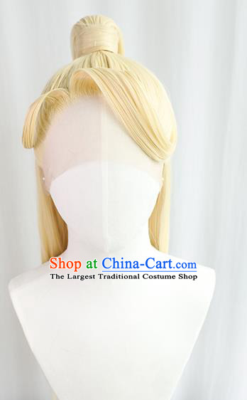 Best Chinese Cosplay God Golden Wig Sheath China Quality Front Lace Wigs Ancient Swordsman King Wig