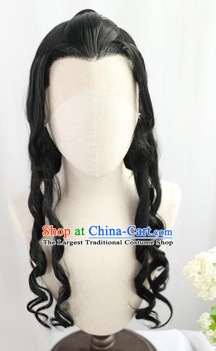 Best Chinese Drama Ancient King Wig Sheath China Quality Front Lace Wigs Cosplay Swordsman Curly Wig