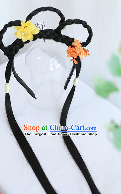 Chinese Ming Dynasty Wig Hairpiece Quality Wig Sheath China Ancient Cosplay Swordswoman Wigs Braid Hair Clasp