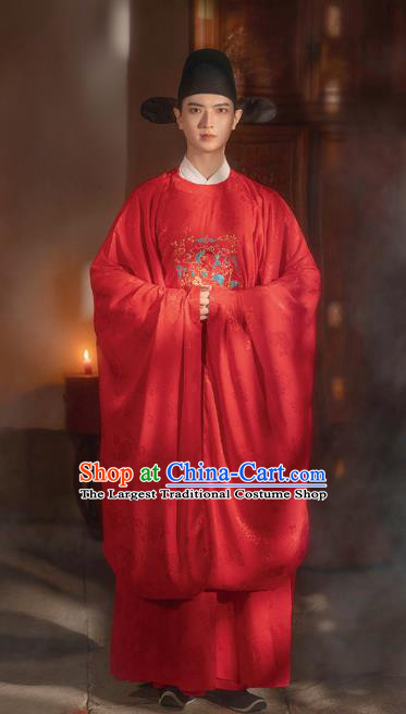 Chinese Ming Dynasty Wedding Historical Costumes Traditional Ancient Official Hanfu Apparels Embroidered Red Robe for Men