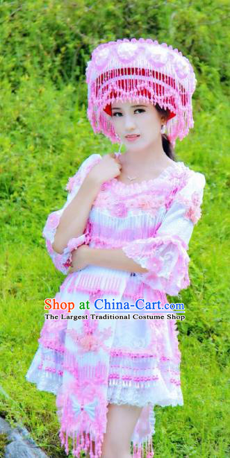 China Ethnic Bride Light Blue Blouse and Short Skirt with Hat Miao Ethnic Nationality Wedding Costumes