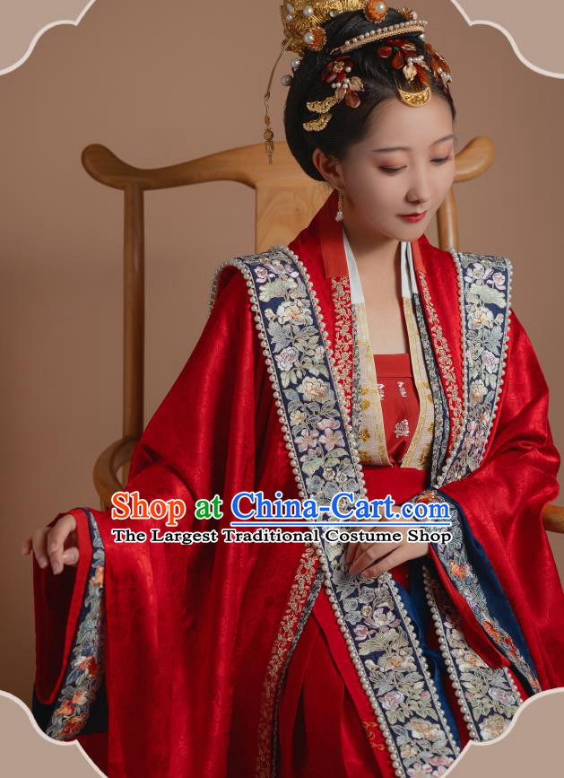 Ancient China Traditional Wedding Hanfu Clothing Song Dynasty Court Empress Red Historical Costumes Complete Set