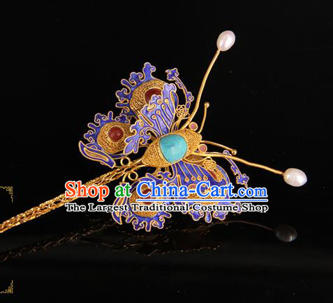 China Handmade Queen Gems Hair Stick Traditional Palace Headpiece Ancient Ming Dynasty Empress Cloisonne Butterfly Hairpin