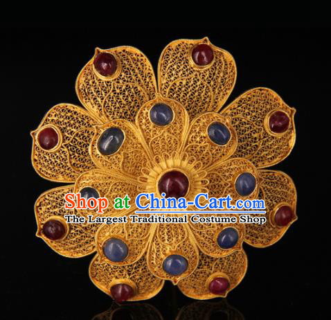 China Handmade Queen Gems Hair Crown Traditional Palace Headpiece Ancient Ming Dynasty Empress Golden Peony Hairpin
