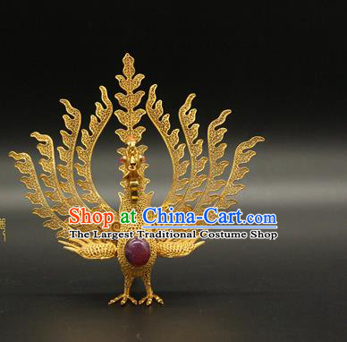 China Handmade Queen Ruby Phoenix Hair Crown Traditional Palace Headpiece Ancient Ming Dynasty Empress Golden Hairpin