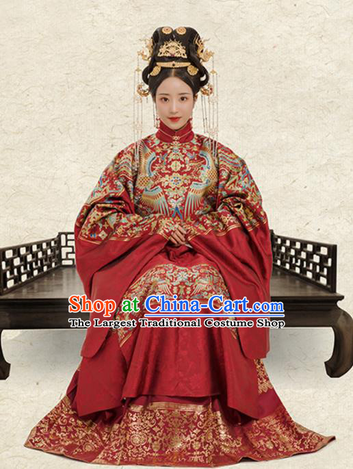 Chinese Ancient Court Queen Wedding Embroidered Dress Traditional Ming Dynasty Empress Costumes for Women