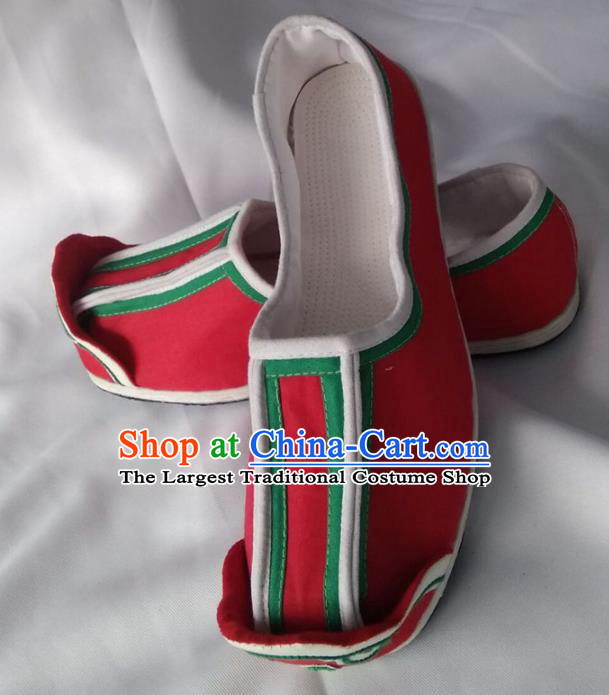 Chinese Kung Fu Shoes Handmade Red Cloth Shoes Traditional Hanfu Shoes Opera Shoes for Men