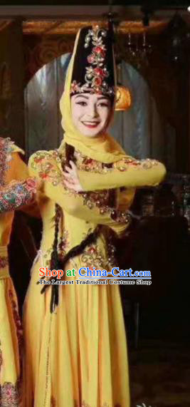 Chinese Traditional Uyghur Nationality Dance Yellow Dress Xinjiang Ethnic Stage Show Costume for Women