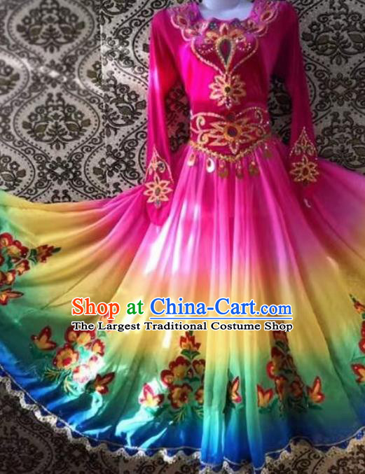 Chinese Traditional Uyghur Nationality Folk Dance Rosy Dress Xinjiang Ethnic Stage Show Costume for Women