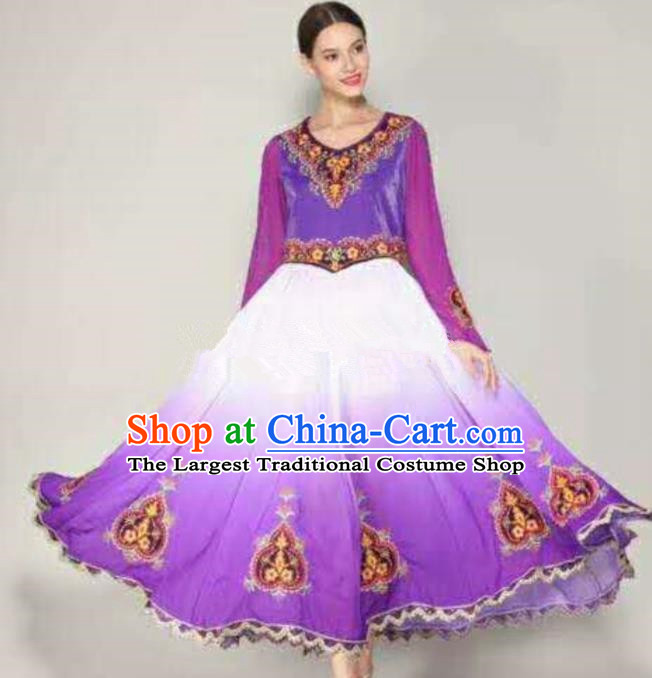 Traditional Chinese Xinjiang Uyghur Nationality Folk Dance Purple Dress Ethnic Stage Show Costume for Women