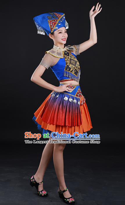 Traditional Chinese Zhuang Nationality Liu Sanjie Dress Guangxi Ethnic Folk Dance Stage Show Costume for Women