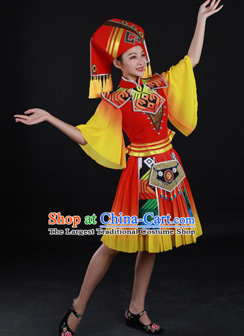 Traditional Chinese Zhuang Nationality Liu Sanjie Red Dress Guangxi Ethnic Folk Dance Stage Show Costume for Women